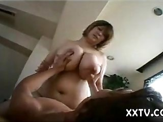 Huge Japanese titty mom gives titjob(censored)