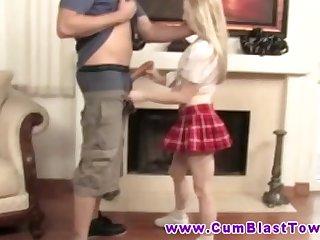 Blonde cumshot loving petite MILF jerks dude off