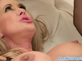 Blonde gusher in lingerie rides dick
