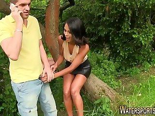 Glam ebony ho piss soaked
